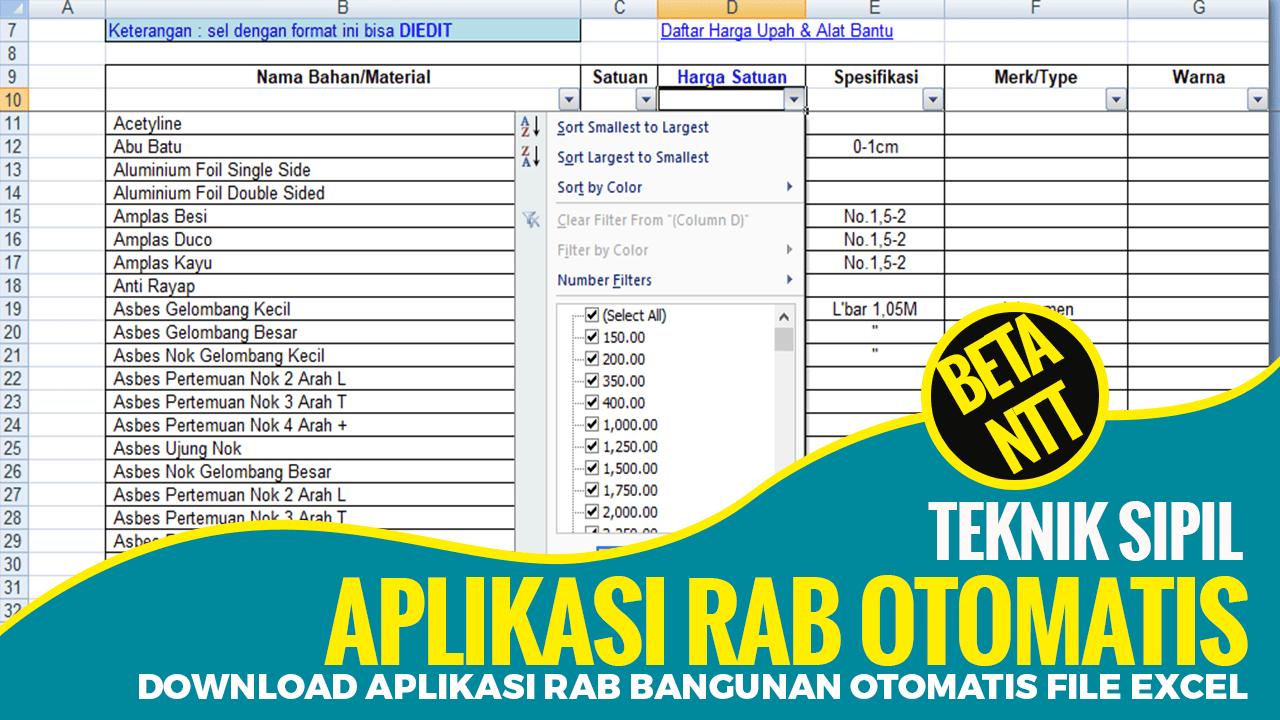 Download Aplikasi RAB Bangunan Otomatis File Excel